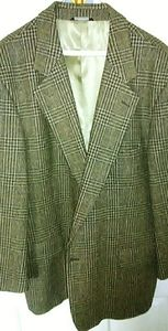 42R Geoffrey Beene tan&blk wool men's sports coat